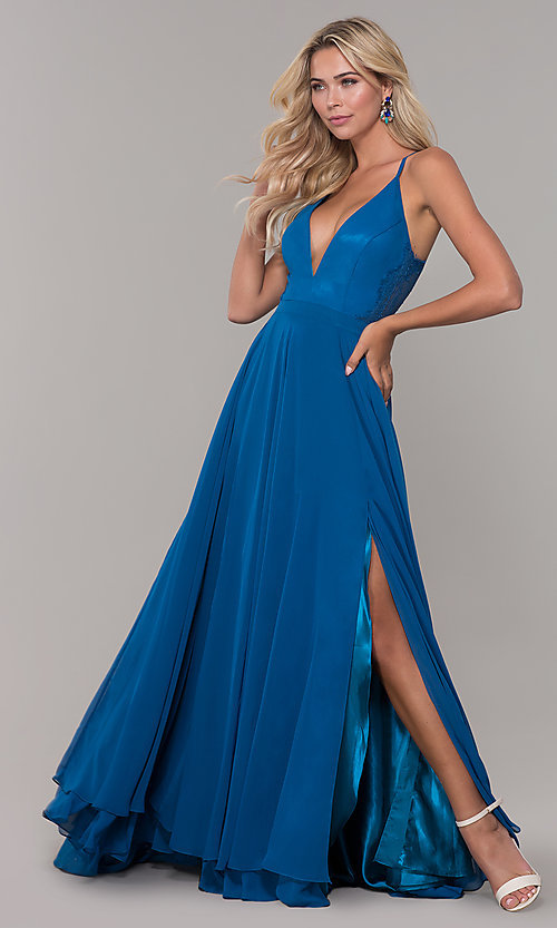 Image of lace-back teal blue long chiffon formal prom dress. Style: DJ-A7102 Front Image