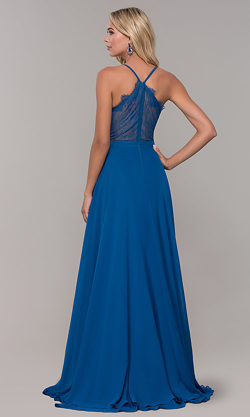 Image of lace-back teal blue long chiffon formal prom dress. Style: DJ-A7102 Back Image