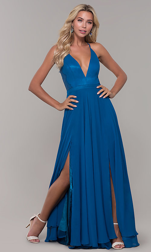 Image of lace-back teal blue long chiffon formal prom dress. Style: DJ-A7102 Detail Image 3