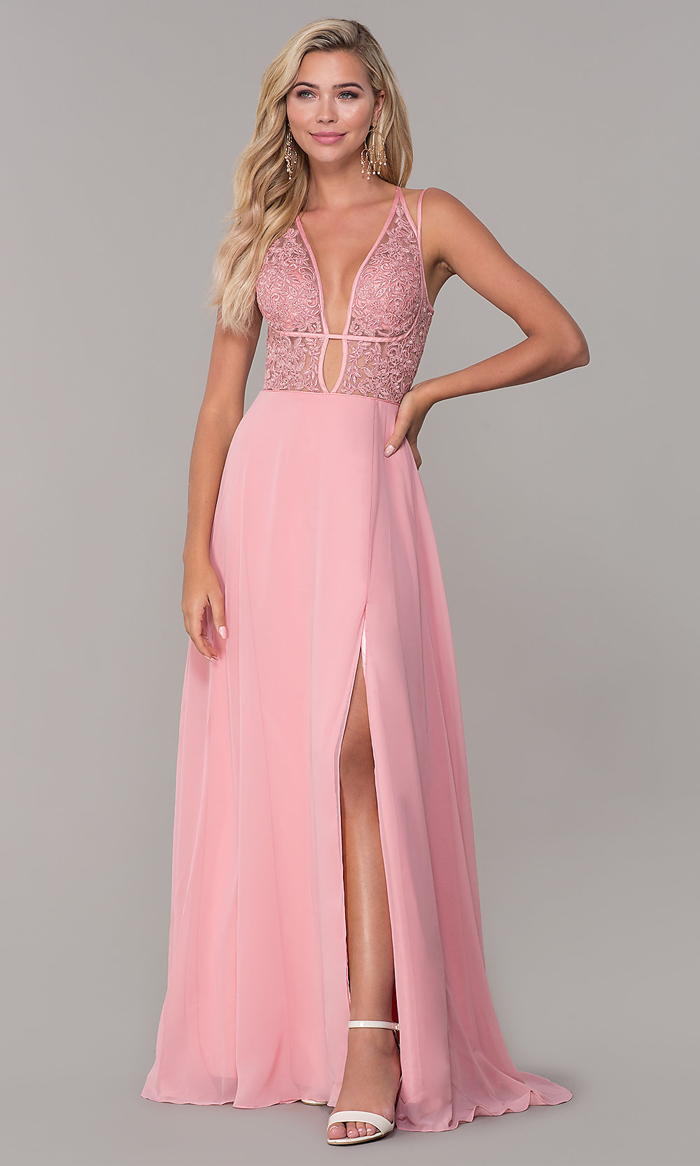 f63a650a466 V-Neck Dave and Johnny Long Prom Dress