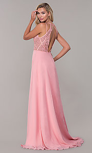 Image of Dave and Johnny long v-neck prom dress. Style: DJ-A7174 Back Image