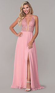 Image of Dave and Johnny long v-neck prom dress. Style: DJ-A7174 Detail Image 3