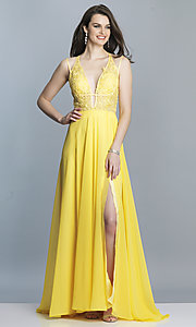 Image of Dave and Johnny long v-neck prom dress. Style: DJ-A7174 Detail Image 4