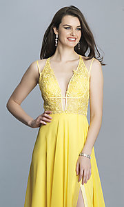 Image of Dave and Johnny long v-neck prom dress. Style: DJ-A7174 Detail Image 6