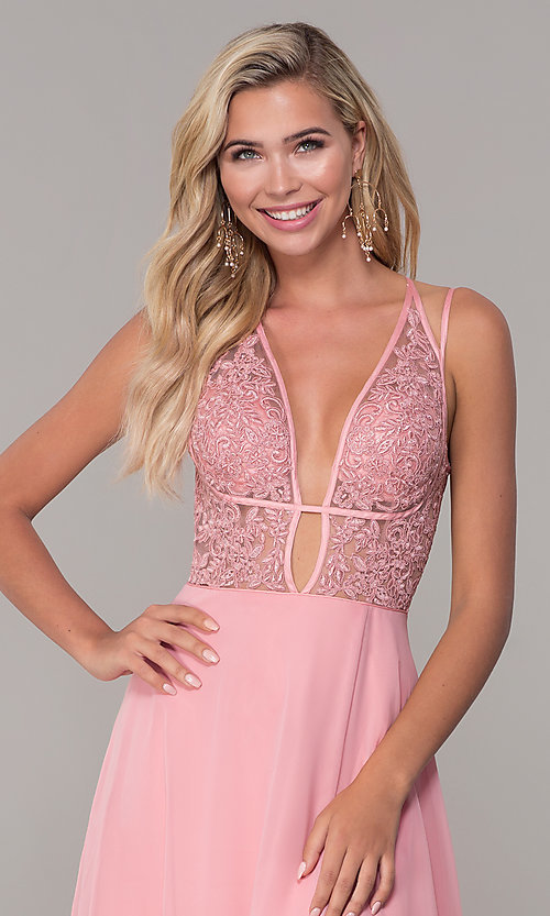 Image of Dave and Johnny long v-neck prom dress. Style: DJ-A7174 Detail Image 1