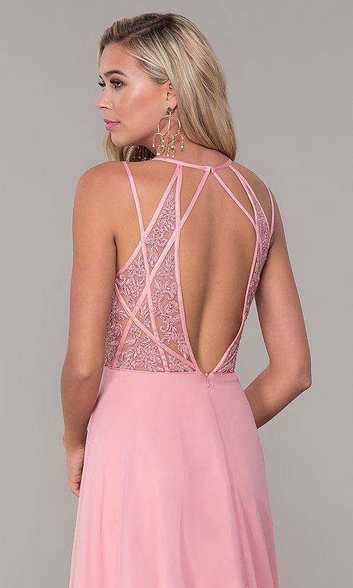 Image of Dave and Johnny long v-neck prom dress. Style: DJ-A7174 Detail Image 2