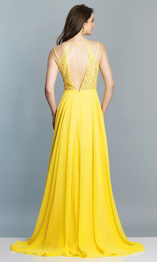 Image of Dave and Johnny long v-neck prom dress. Style: DJ-A7174 Detail Image 5