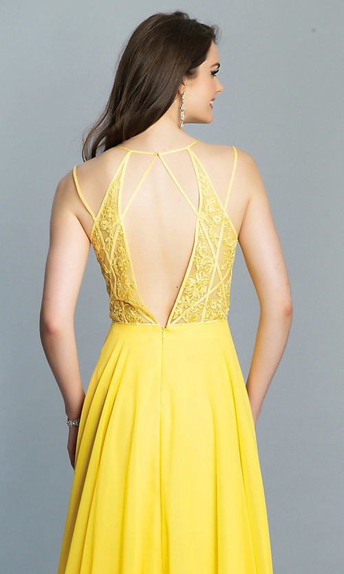 Image of Dave and Johnny long v-neck prom dress. Style: DJ-A7174 Detail Image 7