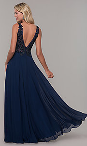 Image of Dave and Johnny long navy blue formal prom dress. Style: DJ-A7868 Back Image