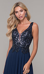 Image of Dave and Johnny long navy blue formal prom dress. Style: DJ-A7868 Detail Image 1