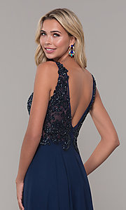 Image of Dave and Johnny long navy blue formal prom dress. Style: DJ-A7868 Detail Image 2
