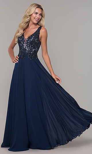 V-Back Long Navy Blue Prom Dress by Dave and Johnny