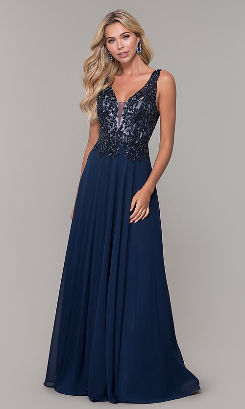 Image of Dave and Johnny long navy blue formal prom dress. Style: DJ-A7868 Detail Image 3