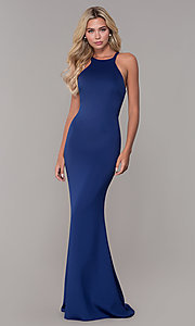 Image of caged-back long formal prom dress by Dave and Johnny. Style: DJ-3977 Front Image