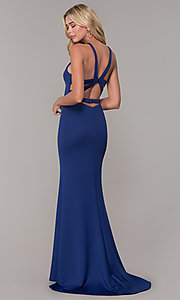 Image of caged-back long formal prom dress by Dave and Johnny. Style: DJ-3977 Back Image