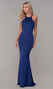 Image of caged-back long formal prom dress by Dave and Johnny. Style: DJ-3977 Detail Image 3