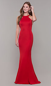 Image of caged-back long formal prom dress by Dave and Johnny. Style: DJ-3977 Detail Image 4