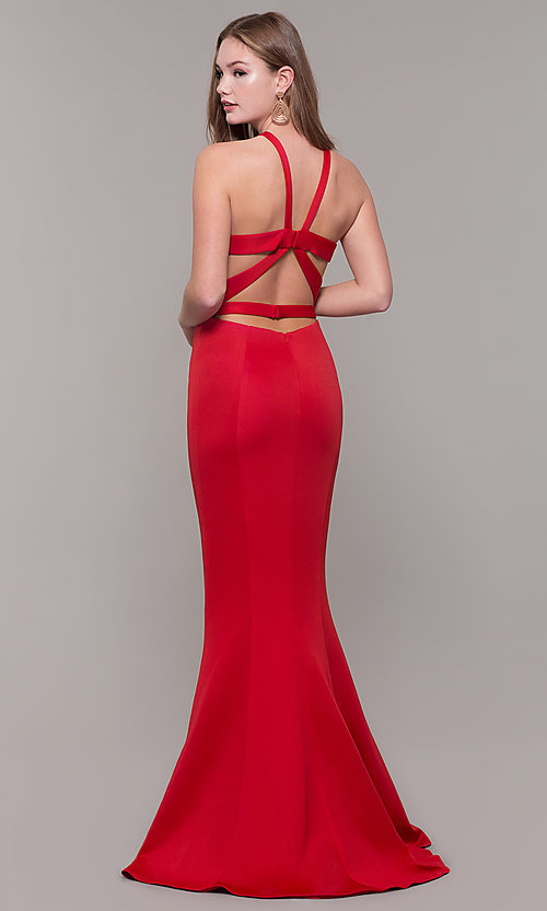 Image of caged-back long formal prom dress by Dave and Johnny. Style: DJ-3977 Detail Image 5