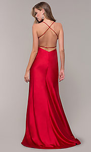 Image of long open-back satin Dave and Johnny formal dress.  Style: DJ-A7534 Back Image
