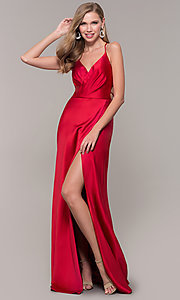 Image of long open-back satin Dave and Johnny formal dress.  Style: DJ-A7534 Detail Image 3