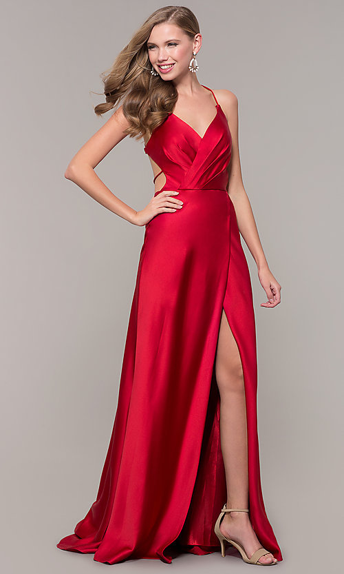 Image of long open-back satin Dave and Johnny formal dress.  Style: DJ-A7534 Front Image