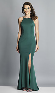 Image of strappy-open-back long formal prom dress with slit. Style: DJ-A7022 Detail Image 4