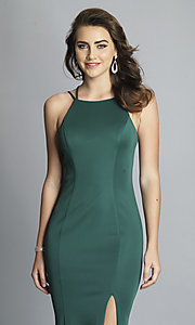 Image of strappy-open-back long formal prom dress with slit. Style: DJ-A7022 Detail Image 6