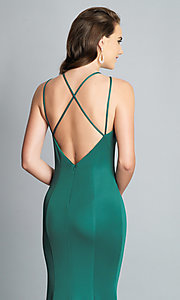 Image of strappy-open-back long formal prom dress with slit. Style: DJ-A7022 Detail Image 7