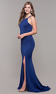 Image of strappy-open-back long formal prom dress with slit. Style: DJ-A7022 Detail Image 3