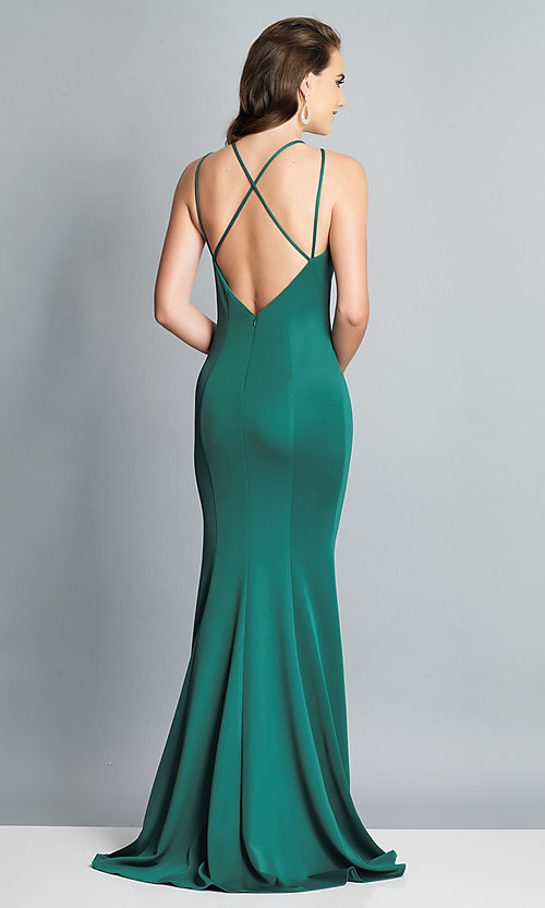 Image of strappy-open-back long formal prom dress with slit. Style: DJ-A7022 Detail Image 5