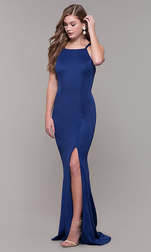 Image of strappy-open-back long formal prom dress with slit. Style: DJ-A7022 Front Image