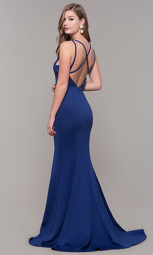 Image of strappy-open-back long formal prom dress with slit. Style: DJ-A7022 Back Image