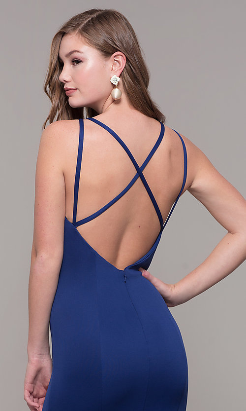 Image of strappy-open-back long formal prom dress with slit. Style: DJ-A7022 Detail Image 2