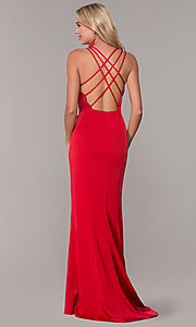 Image of caged-back sweetheart long red formal dress for prom. Style: DJ-A7070 Back Image