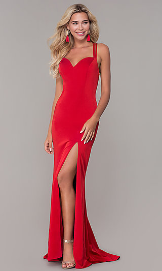 Caged-Back Sweetheart Long Red Formal Dress for Prom