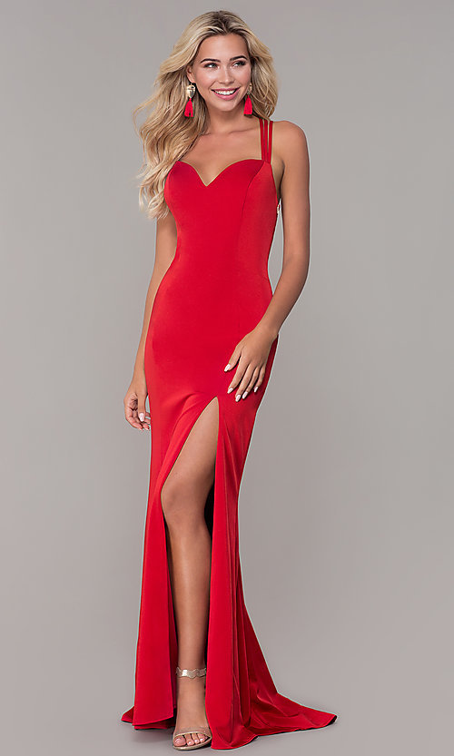 Image of caged-back sweetheart long red formal dress for prom. Style: DJ-A7070 Front Image