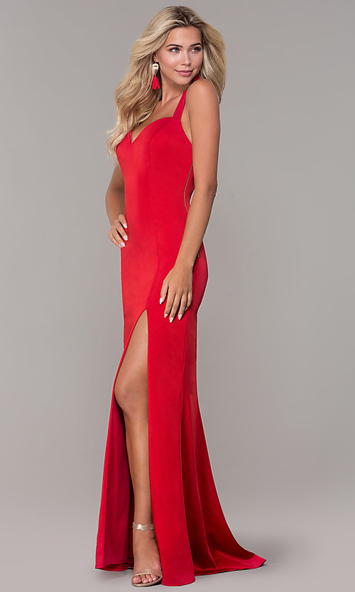 Image of caged-back sweetheart long red formal dress for prom. Style: DJ-A7070 Detail Image 3