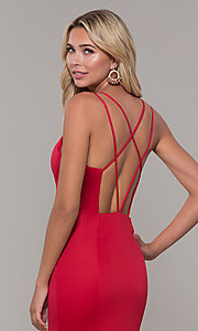 Image of open-back long red Dave and Johnny prom dress. Style: DJ-A7023 Detail Image 2