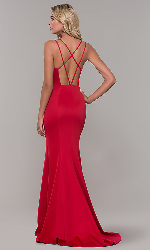Image of open-back long red Dave and Johnny prom dress. Style: DJ-A7023 Back Image