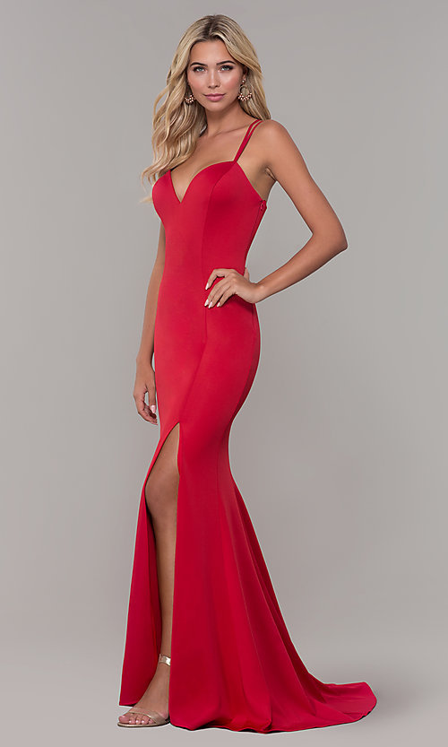 Image of open-back long red Dave and Johnny prom dress. Style: DJ-A7023 Detail Image 3