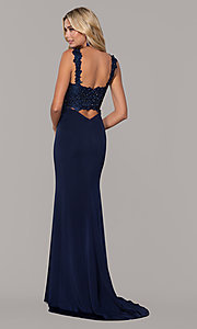 Image of v-neck long prom dress by Dave and Johnny. Style: DJ-A6845 Back Image