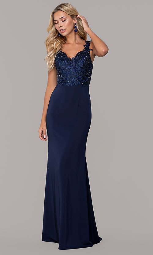 Image of v-neck long prom dress by Dave and Johnny. Style: DJ-A6845 Front Image