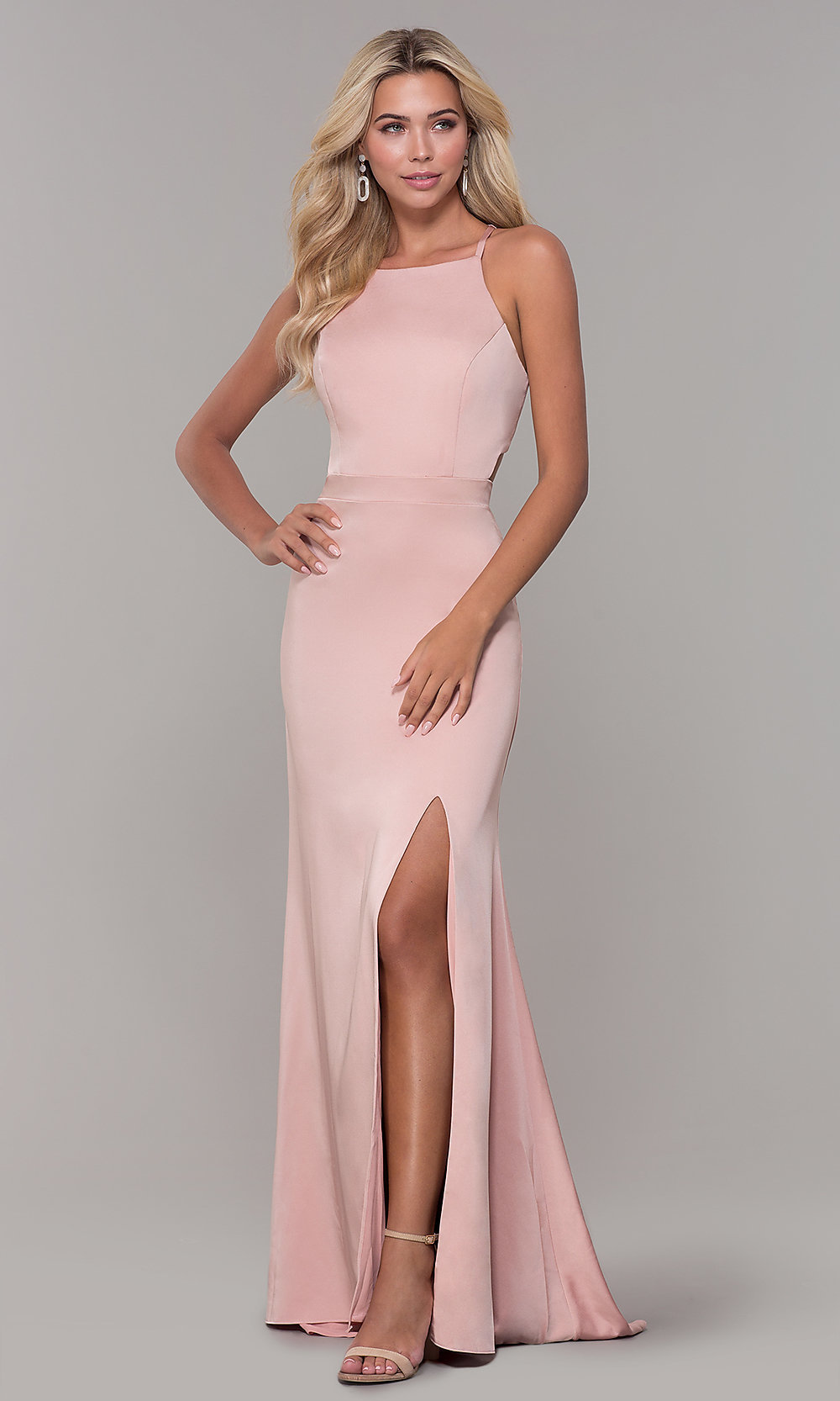 f7eb708d92e Image of Dave and Johnny mauve pink long satin formal dress. Style  DJ-. Tap  to expand