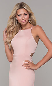 Image of Dave and Johnny mauve pink long satin formal dress. Style: DJ-A7535 Detail Image 1