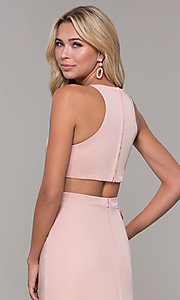 Image of Dave and Johnny mauve pink long satin formal dress. Style: DJ-A7535 Detail Image 2