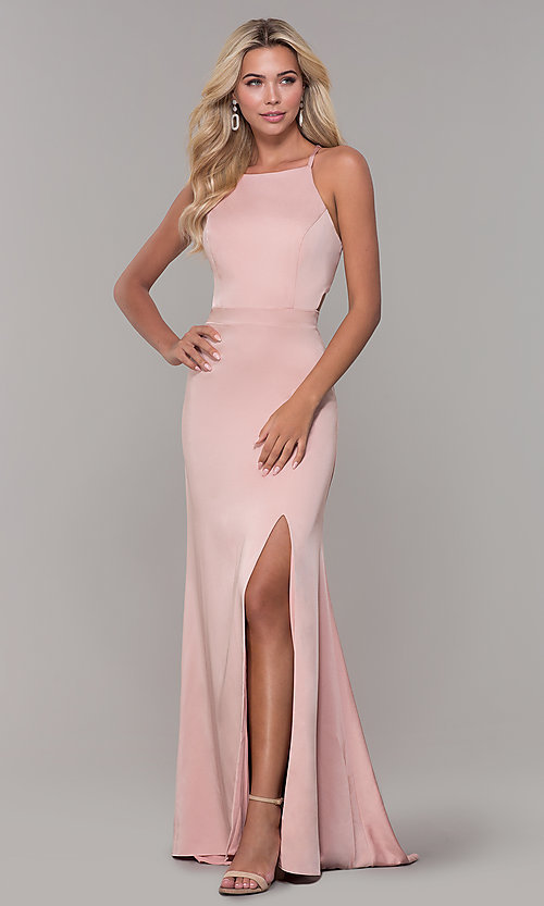 Image of Dave and Johnny mauve pink long satin formal dress. Style: DJ-A7535 Front Image