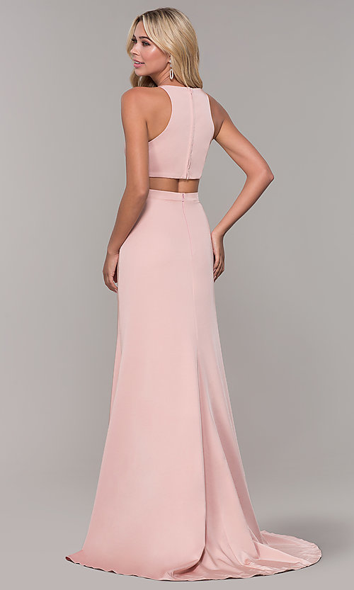 Image of Dave and Johnny mauve pink long satin formal dress. Style: DJ-A7535 Back Image