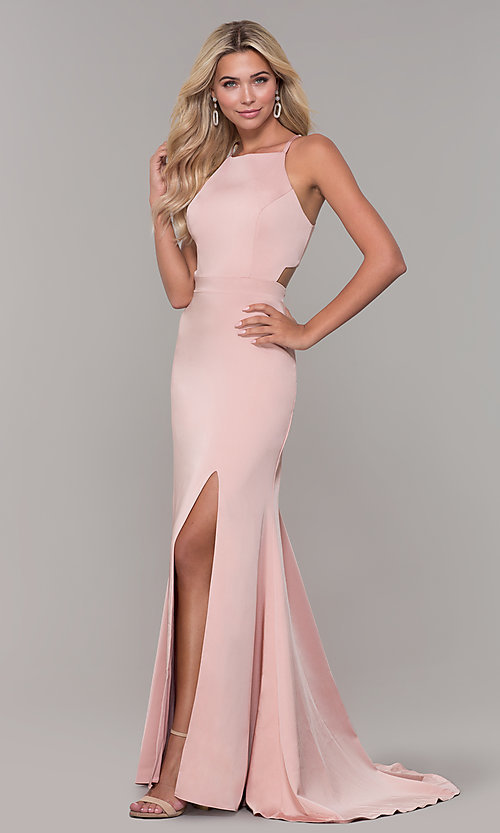 Image of Dave and Johnny mauve pink long satin formal dress. Style: DJ-A7535 Detail Image 3