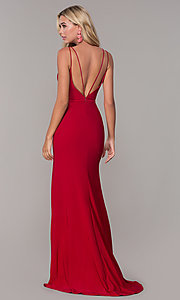 Image of Dave and Johnny long v-neck formal dress with slit. Style: DJ-A7074 Back Image