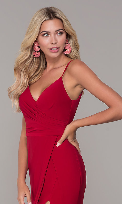 Image of Dave and Johnny long v-neck formal dress with slit. Style: DJ-A7074 Detail Image 1